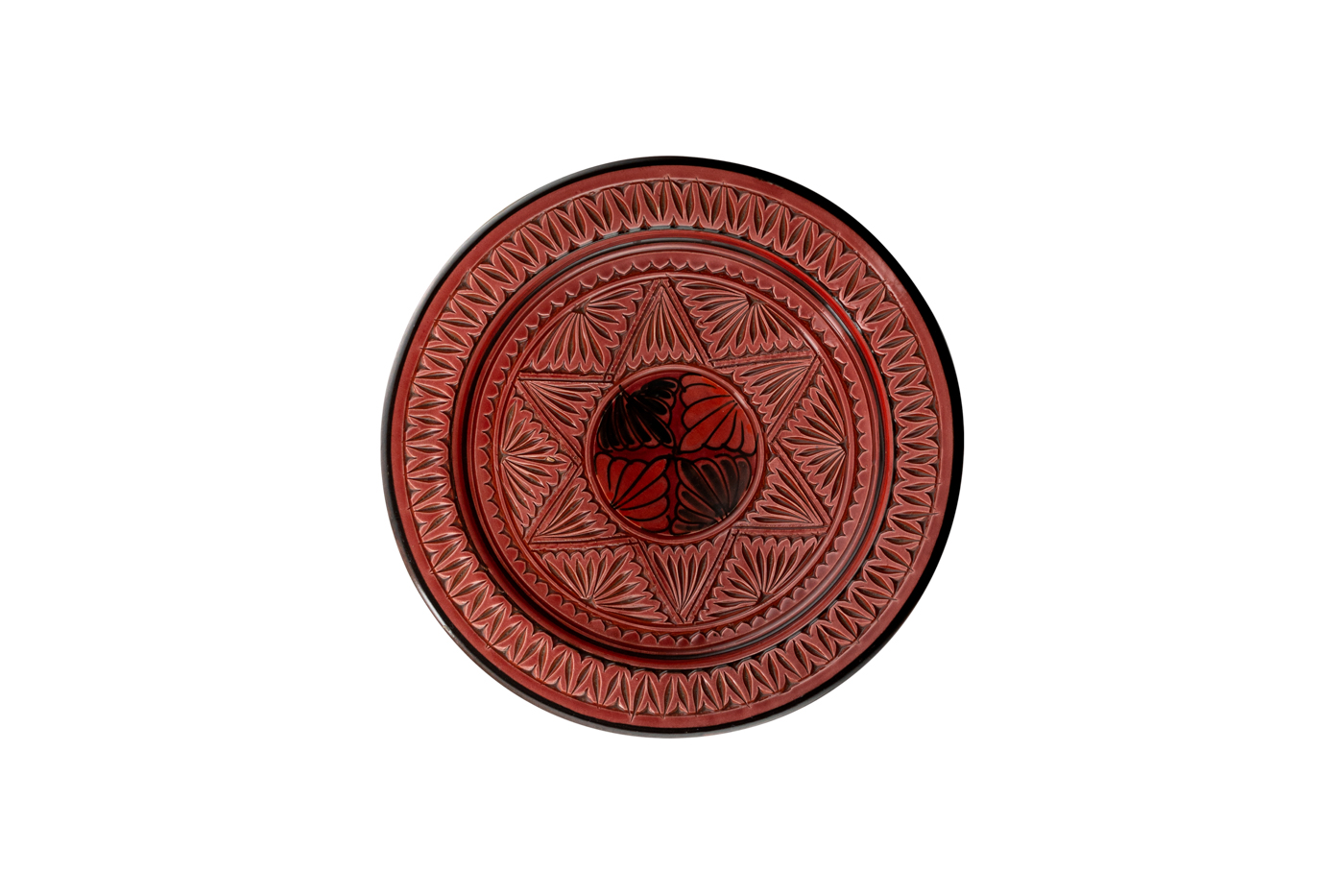 Plato Marroquí en cerámica tallado con diseño de estrella islamica-Rojo