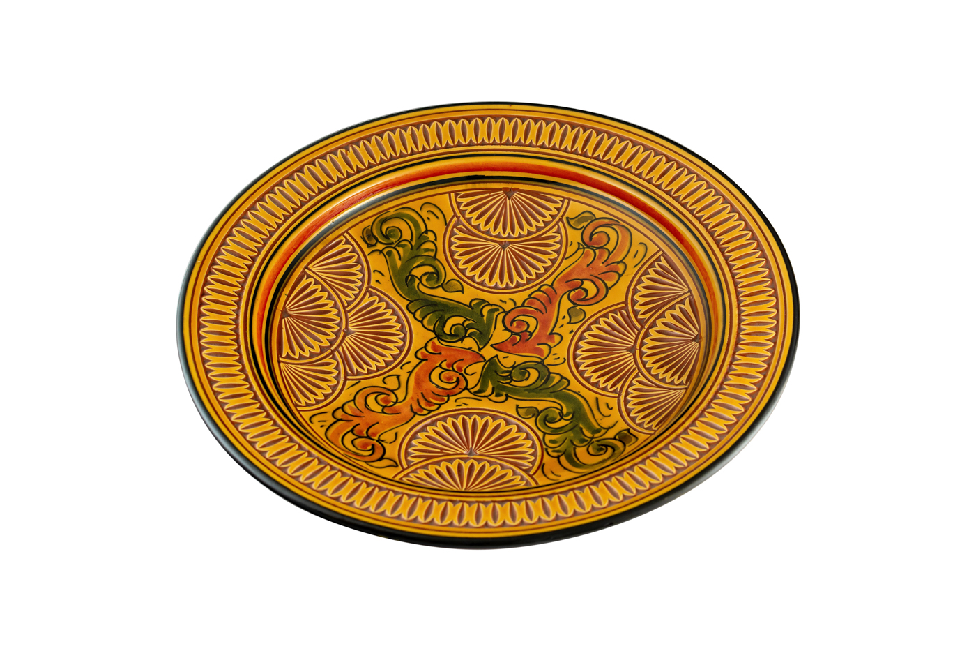 Moroccan carved ceramic plate with floral arabesque designs - Yellow/Orange