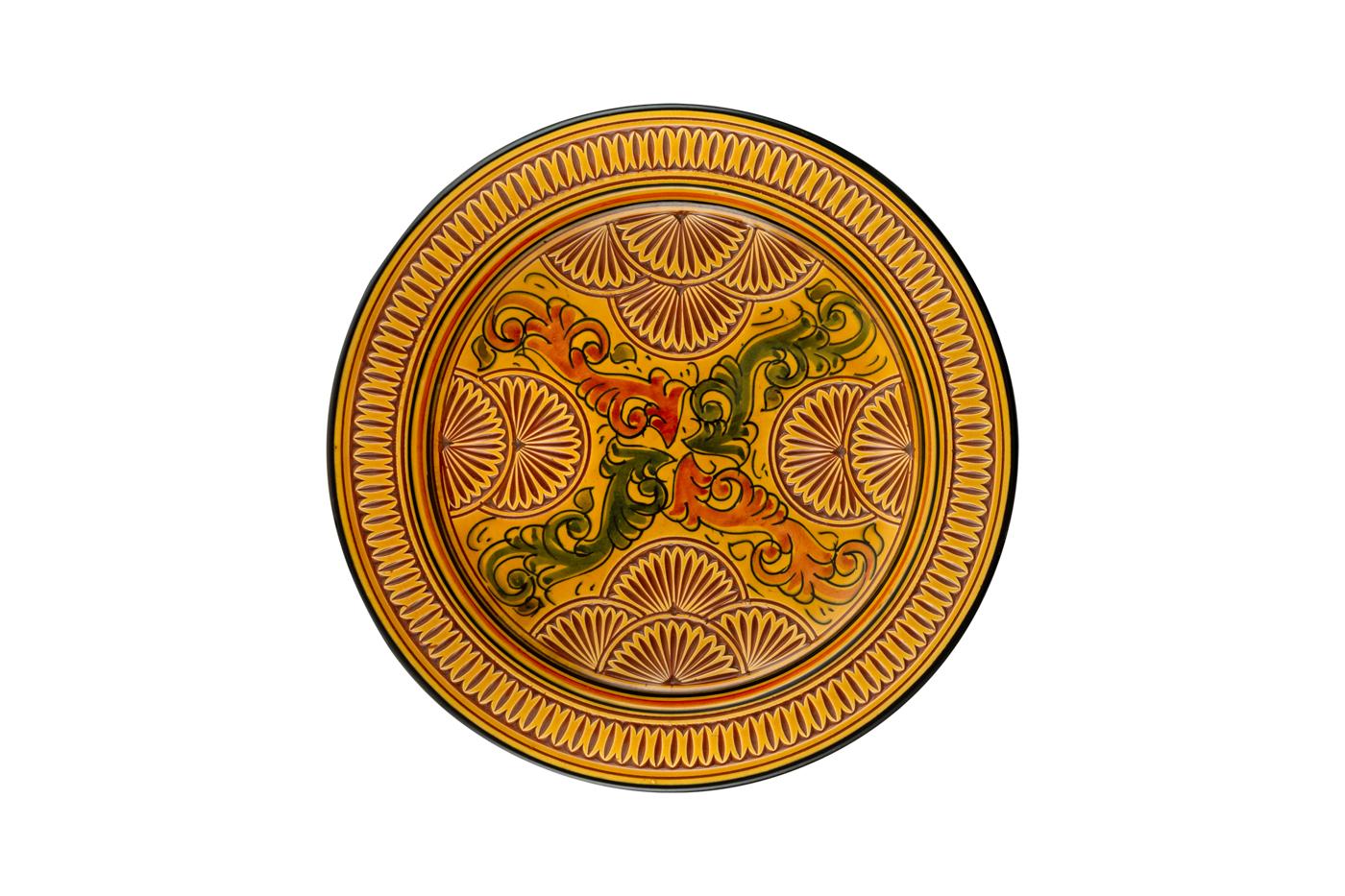 Plato Marroquí en cerámica tallado con diseños de arabescos florales- Amarillo/naranja