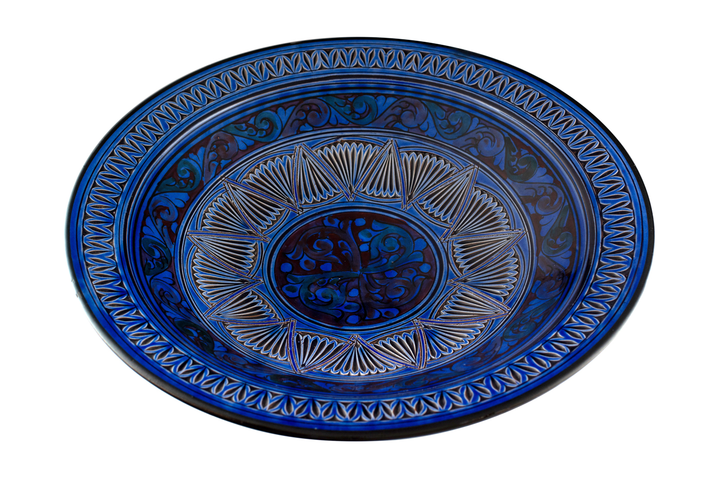 Moroccan ceramic plate carved with geometric arabesque designs-Blue