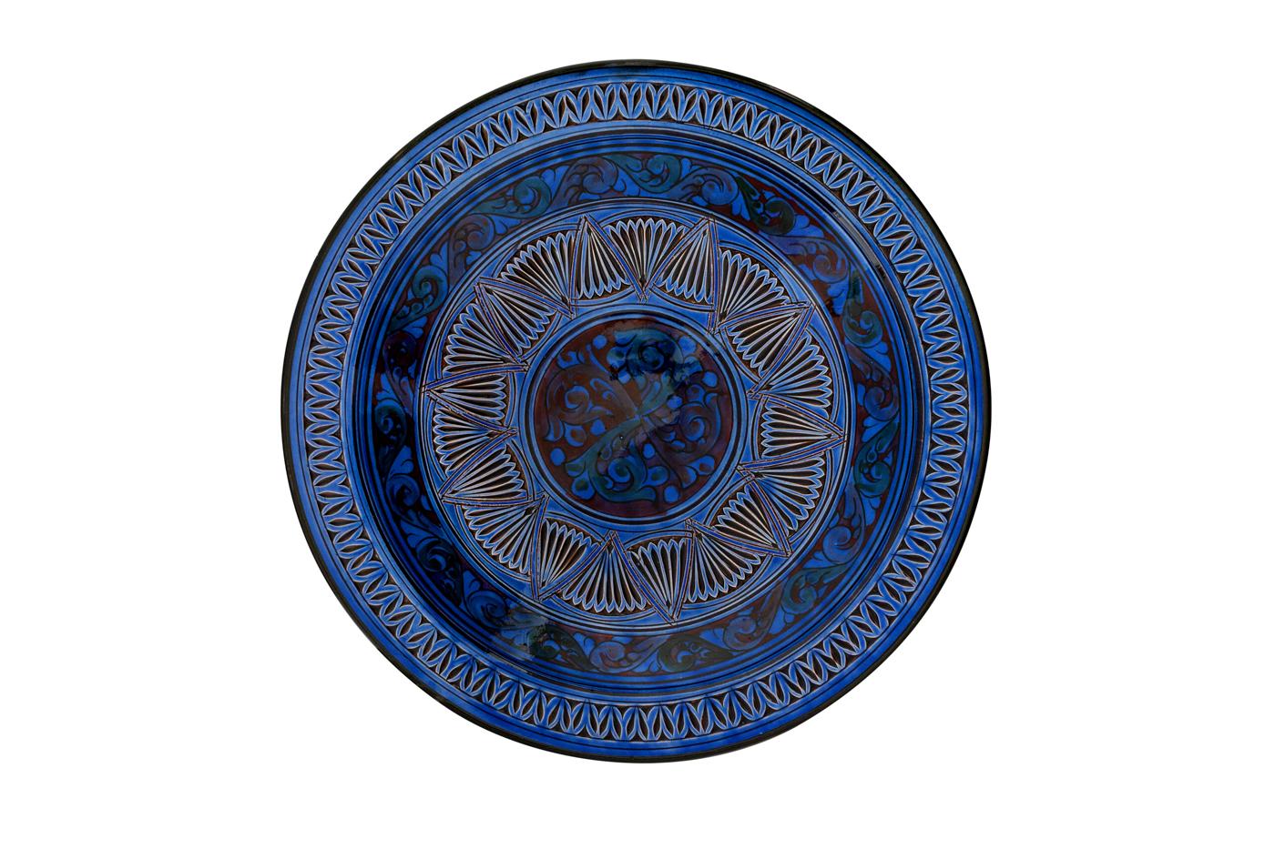 Plato Marroquí en cerámica  tallado con diseños de arabescos geométricos-Azul