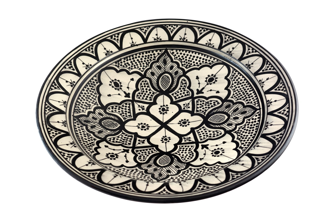 Moroccan painted ceramic dish with floral arabesque design-Black/white