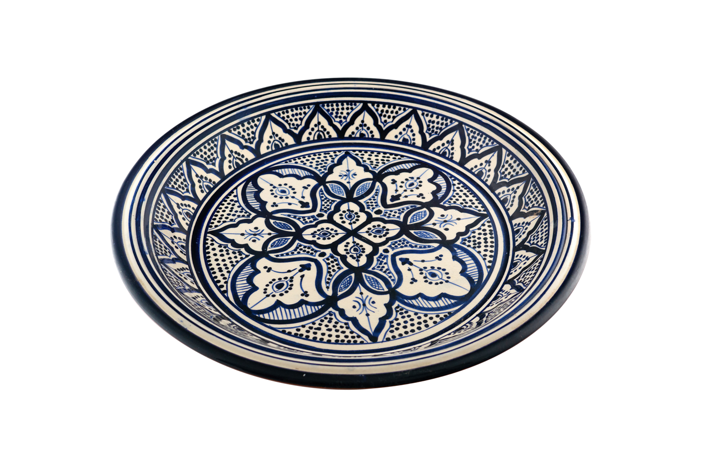 Moroccan ceramic tray painted with floral arabesque designs - White / blue