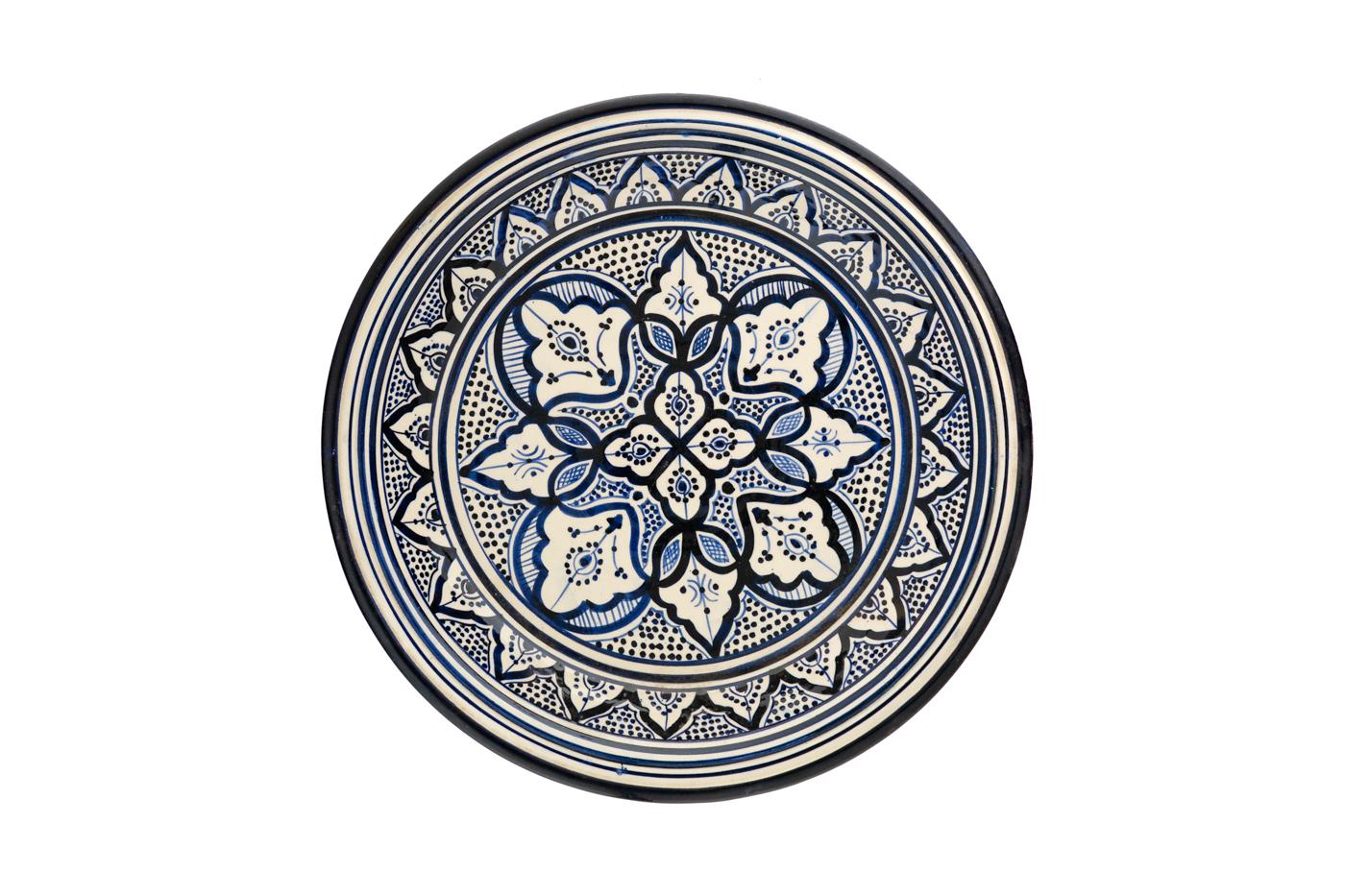 Bandeja en cerámica Marroquí pintada con diseños de arabescos florales- Blanco/ azul