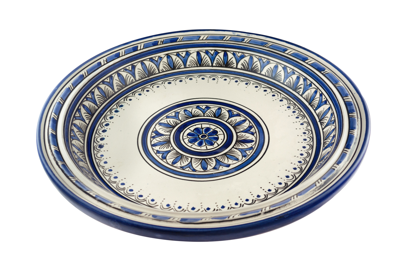 Moroccan tray in painted ceramic with floral arabesque designs- Blue/white