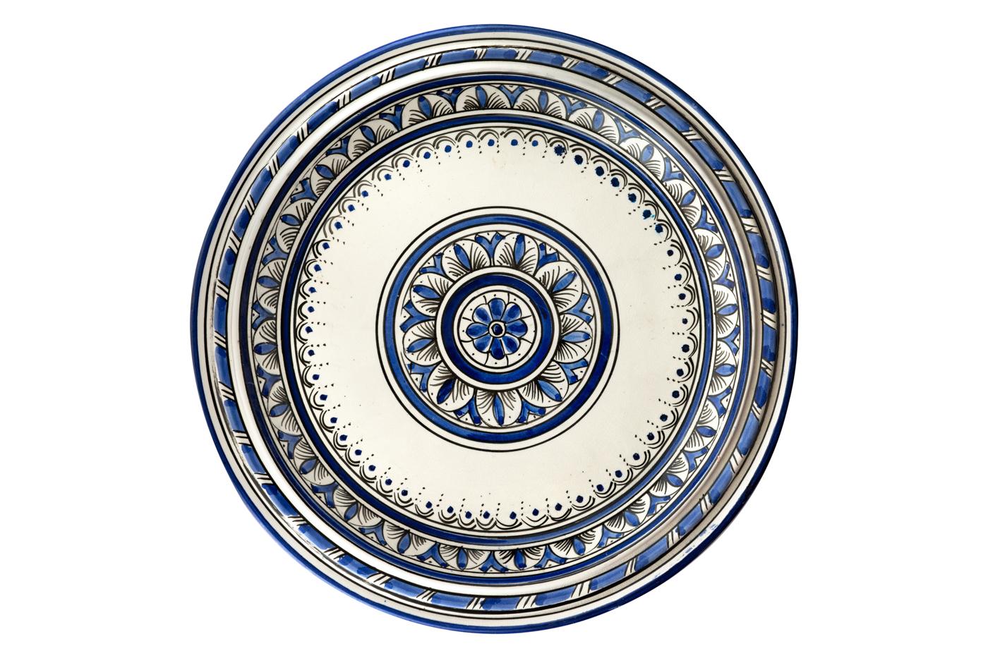 Bandeja Marroquí en cerámica pintada con diseños de arabescos florales- Azul/blanco
