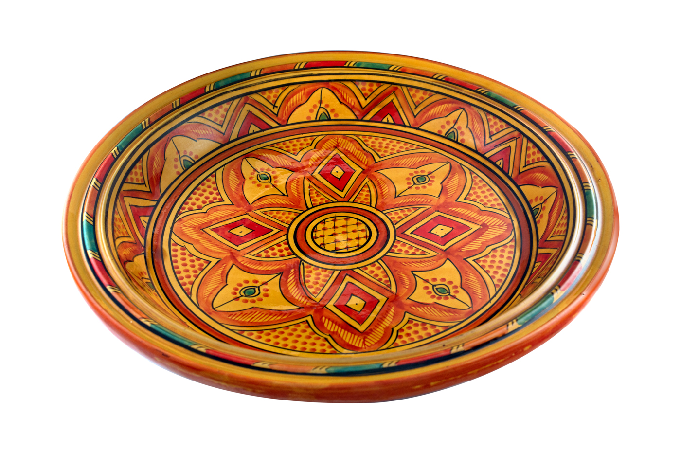 Moroccan Tray in painted ceramic with floral arabesque designs - Orange
