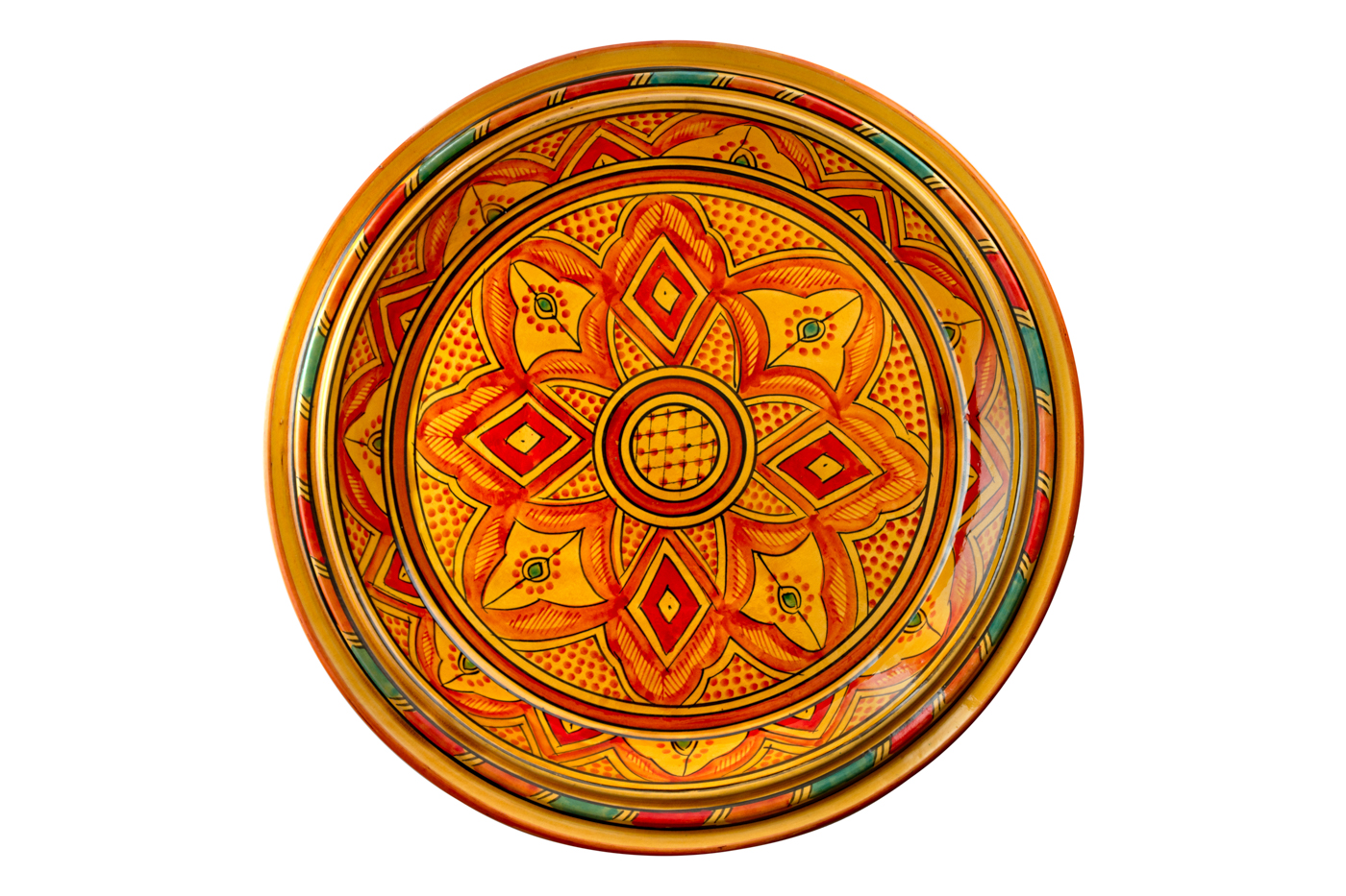 Bandeja Marroquí en cerámica pintada con diseños de arabesco florales- Naranja
