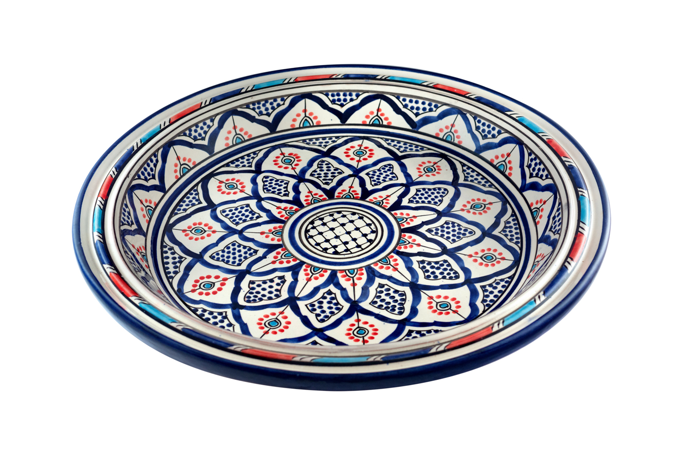 Moroccan painted ceramic tray with floral arabesque design, Blue/Orange