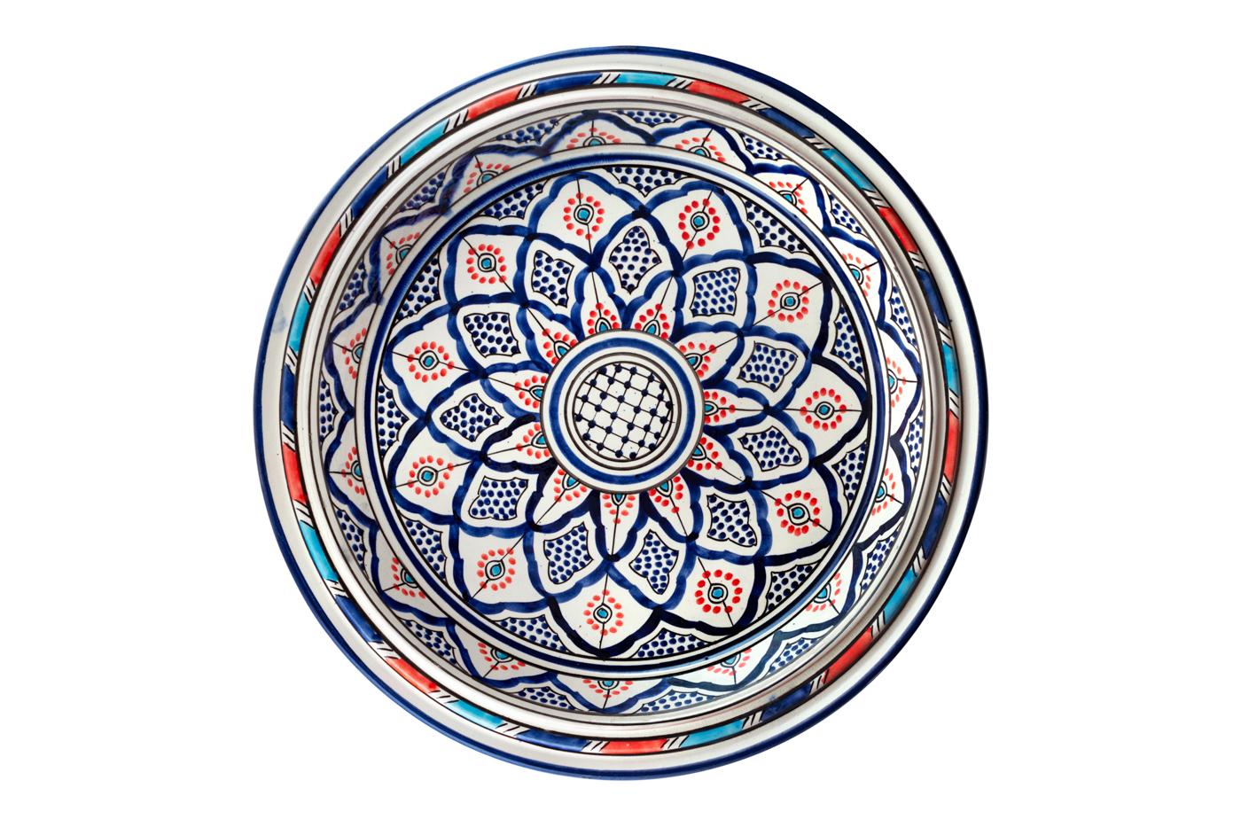 Bandeja Marroquí en cerámica pintada con diseño de arabesco floral, Azul/Naranja