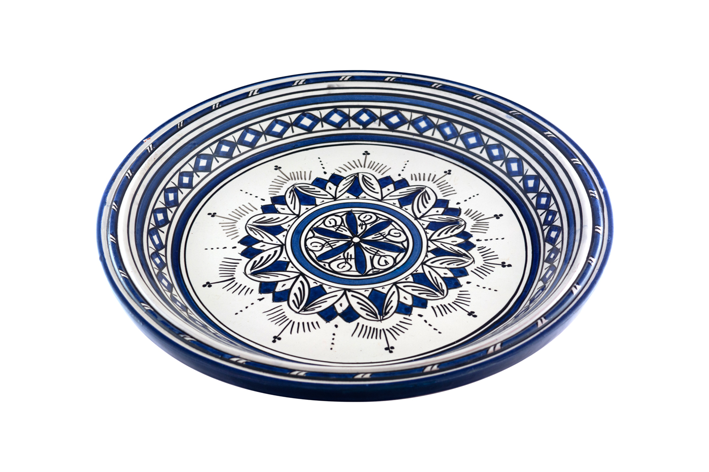 Moroccan painted ceramic tray with geometric arabesque design, White/ Blue