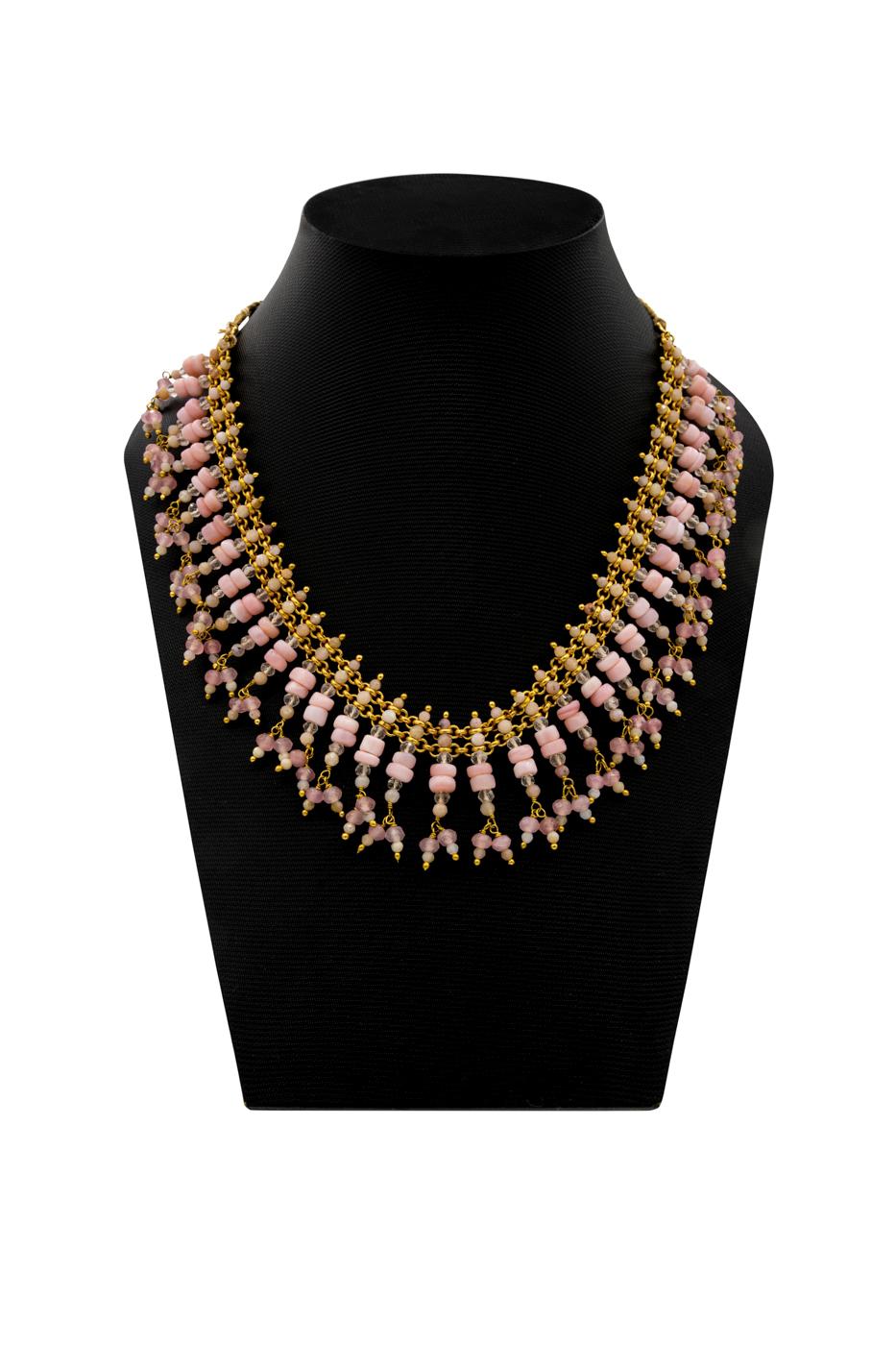 Collar India, con piedras de ópalo rosa y cuarzo rosa