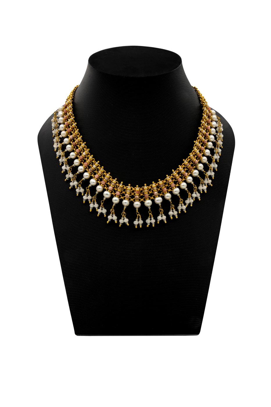 Collar India, con piedras rodocrosita, cuarzo rosa y perlas