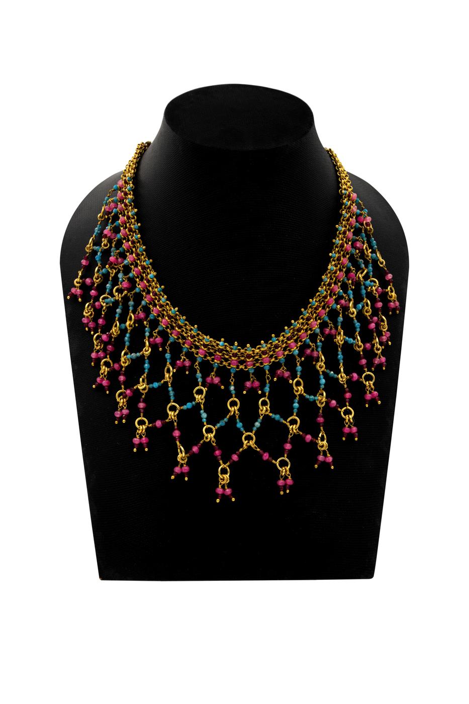 Collar India, Con piedras de apatita, granate, ágata rosada