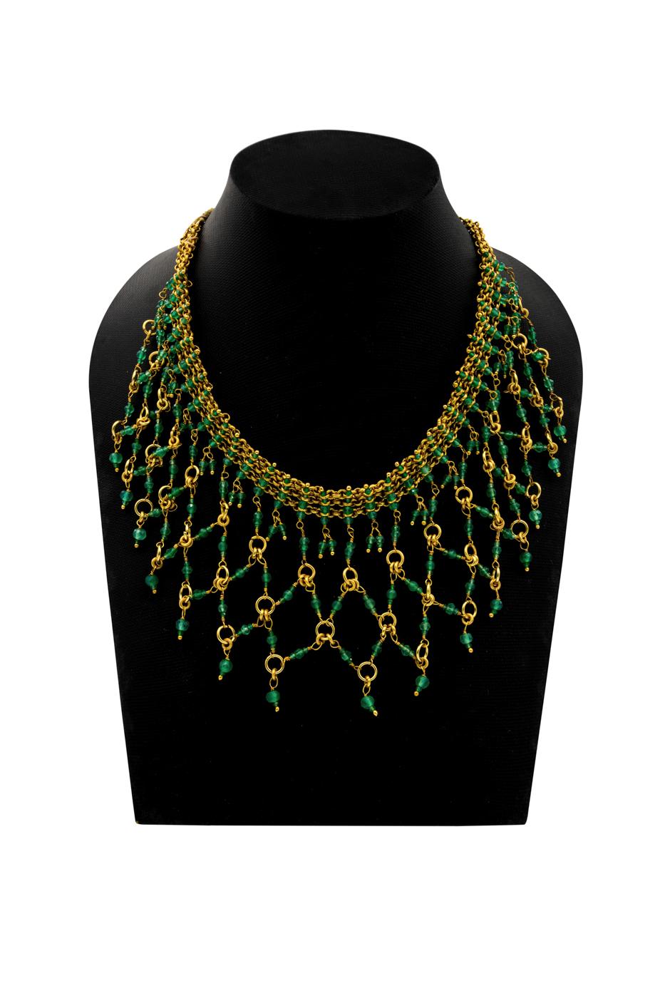 Collar India, con piedra de jade verde