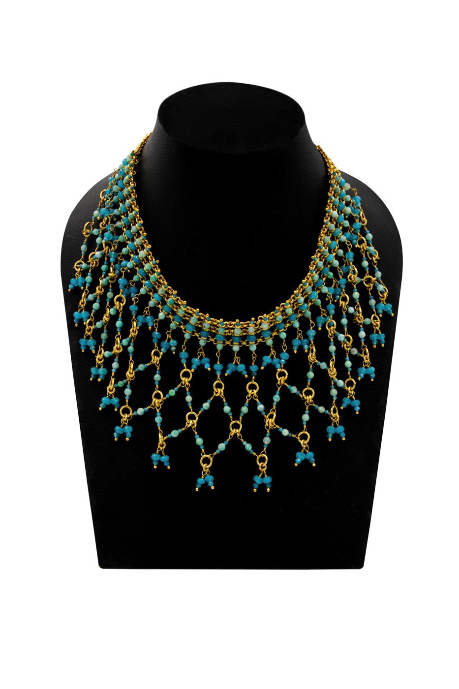 Collar India, con piedra de jade azul