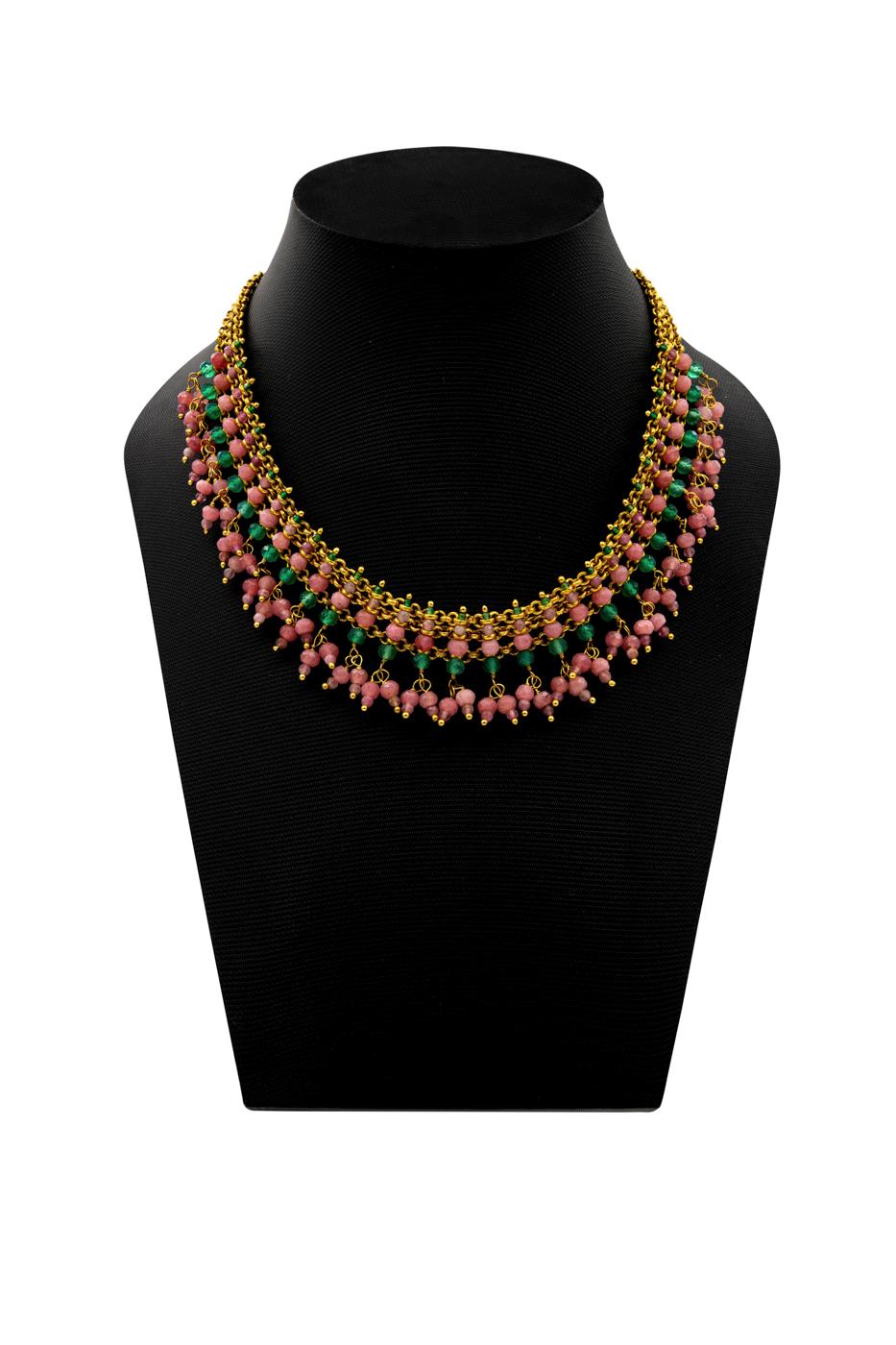 Collar India, con piedras de jade verde, ágata rosada y turmalina rosa