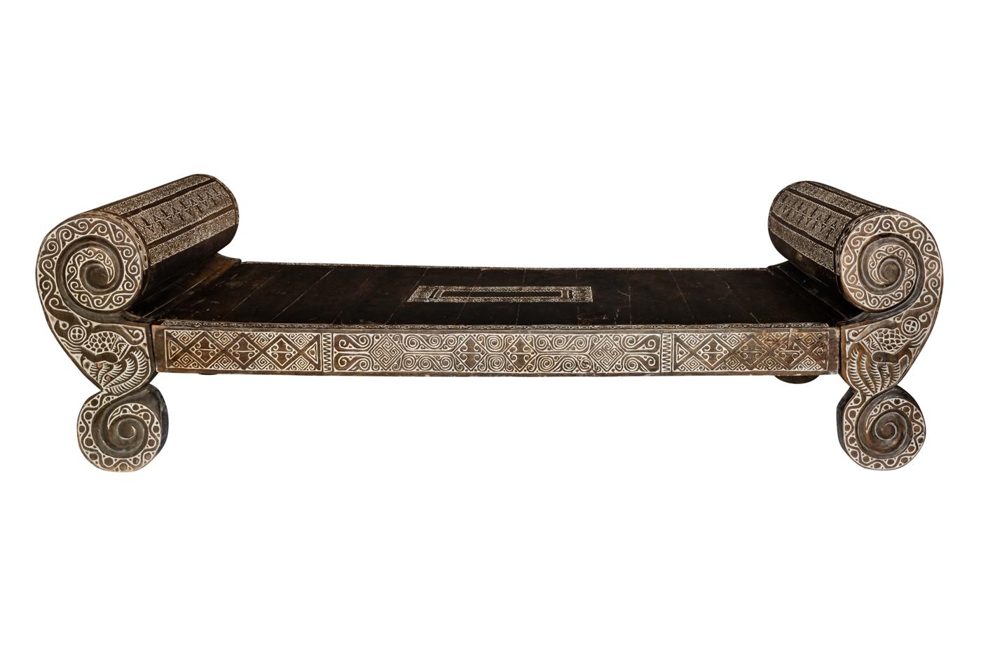Sofa bed Timor carved 258 Cm
