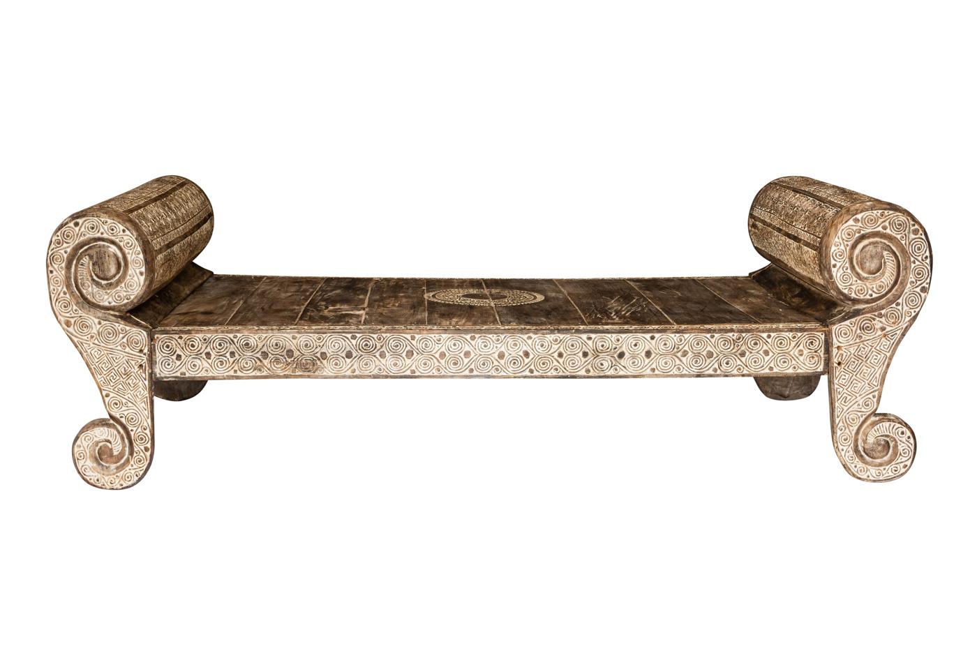 Sofa bed Timor carved 240 Cm