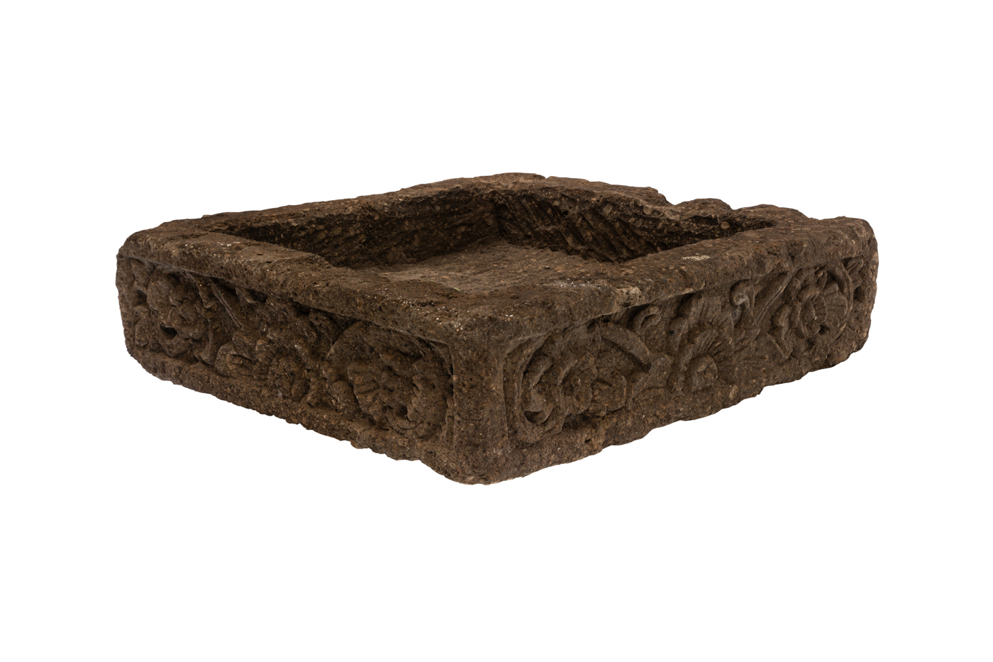 Square planter in carved natural stone