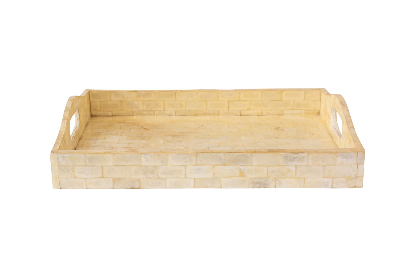 Rectangular wooden tray covered with mother-of-pearl - Beige