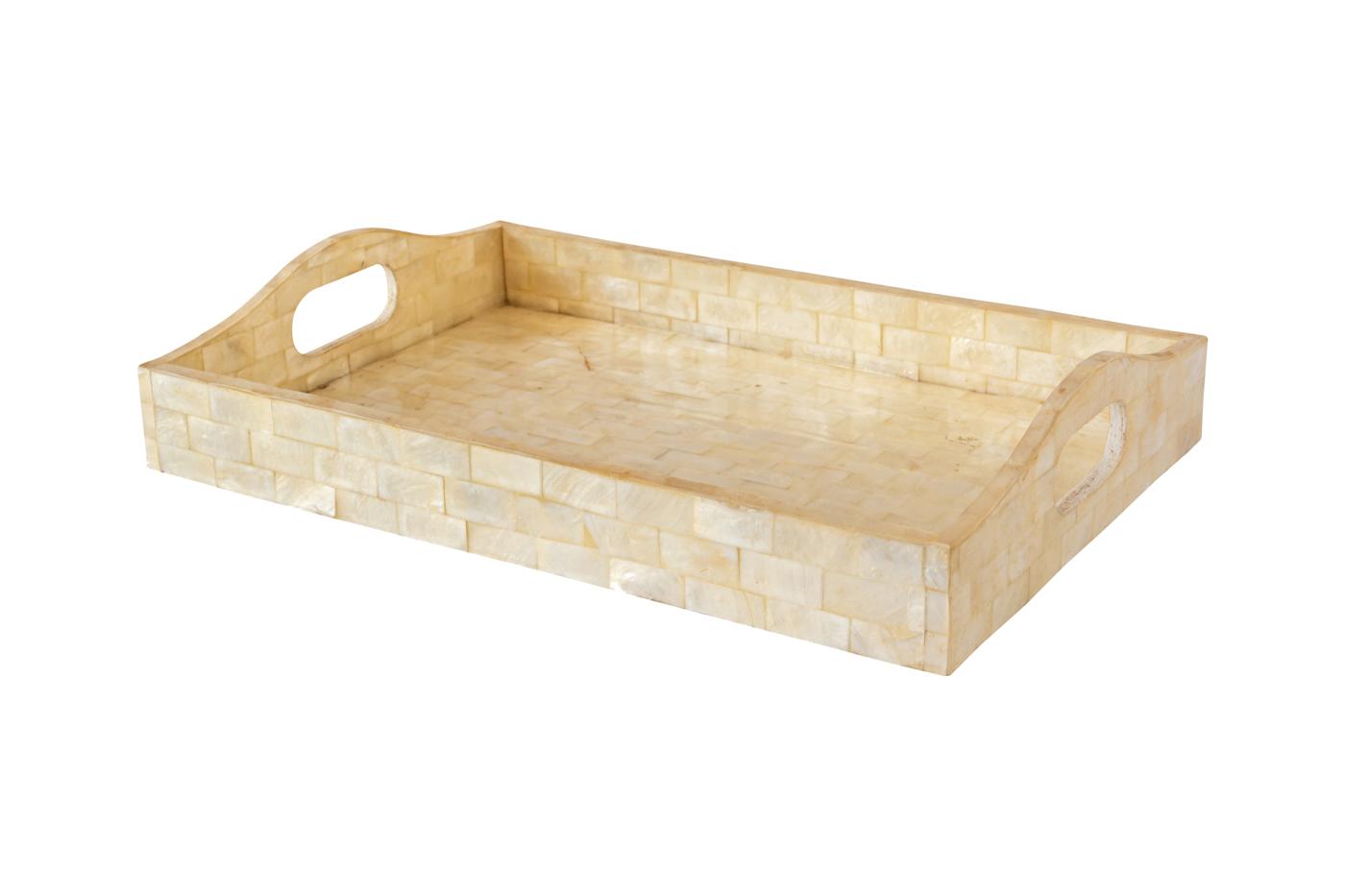 Bandeja rectangular en madera cubierta con nácar - Beige