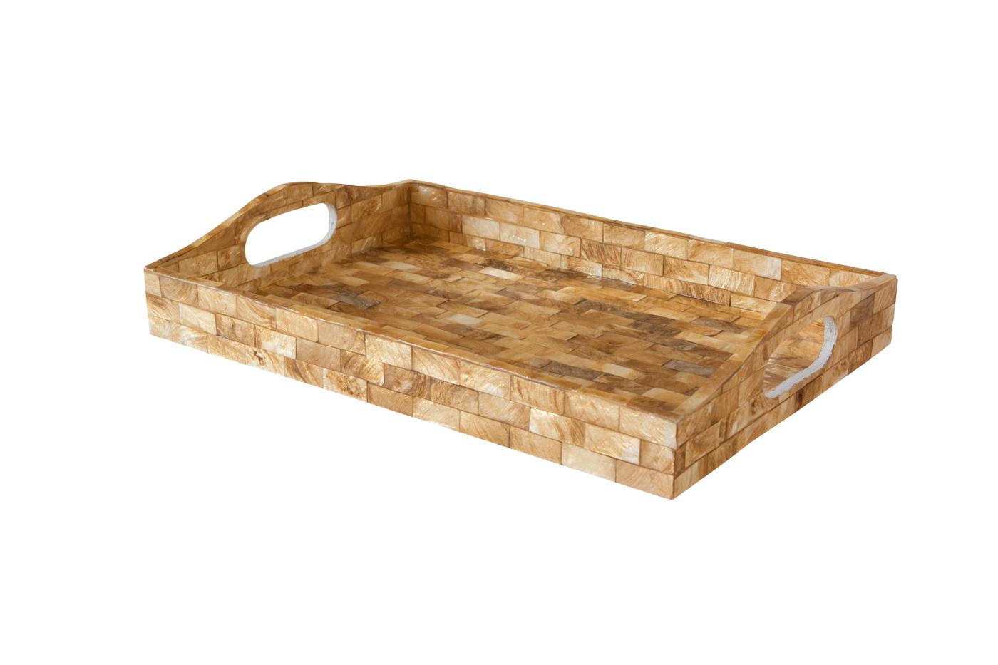 Bandeja rectangular en madera cubierta con nácar-Café claro