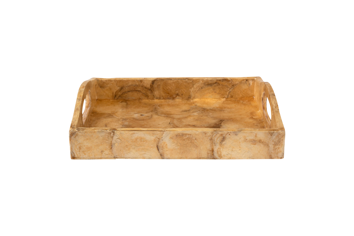 Rectangular wooden tray covered with dark brown mother-of-pearl