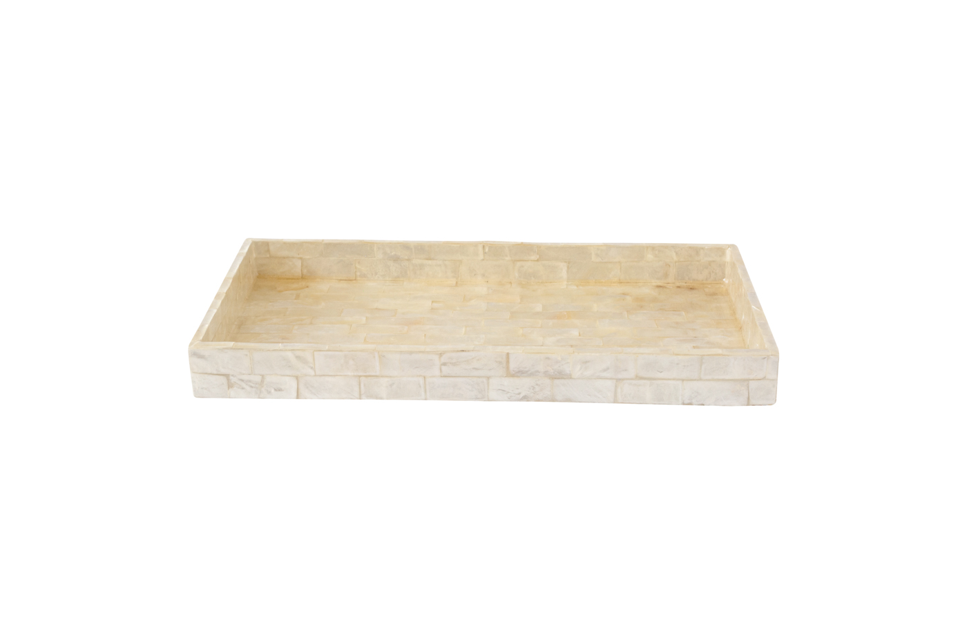 Rectangular wooden tray covered with mother-of-pearl - White