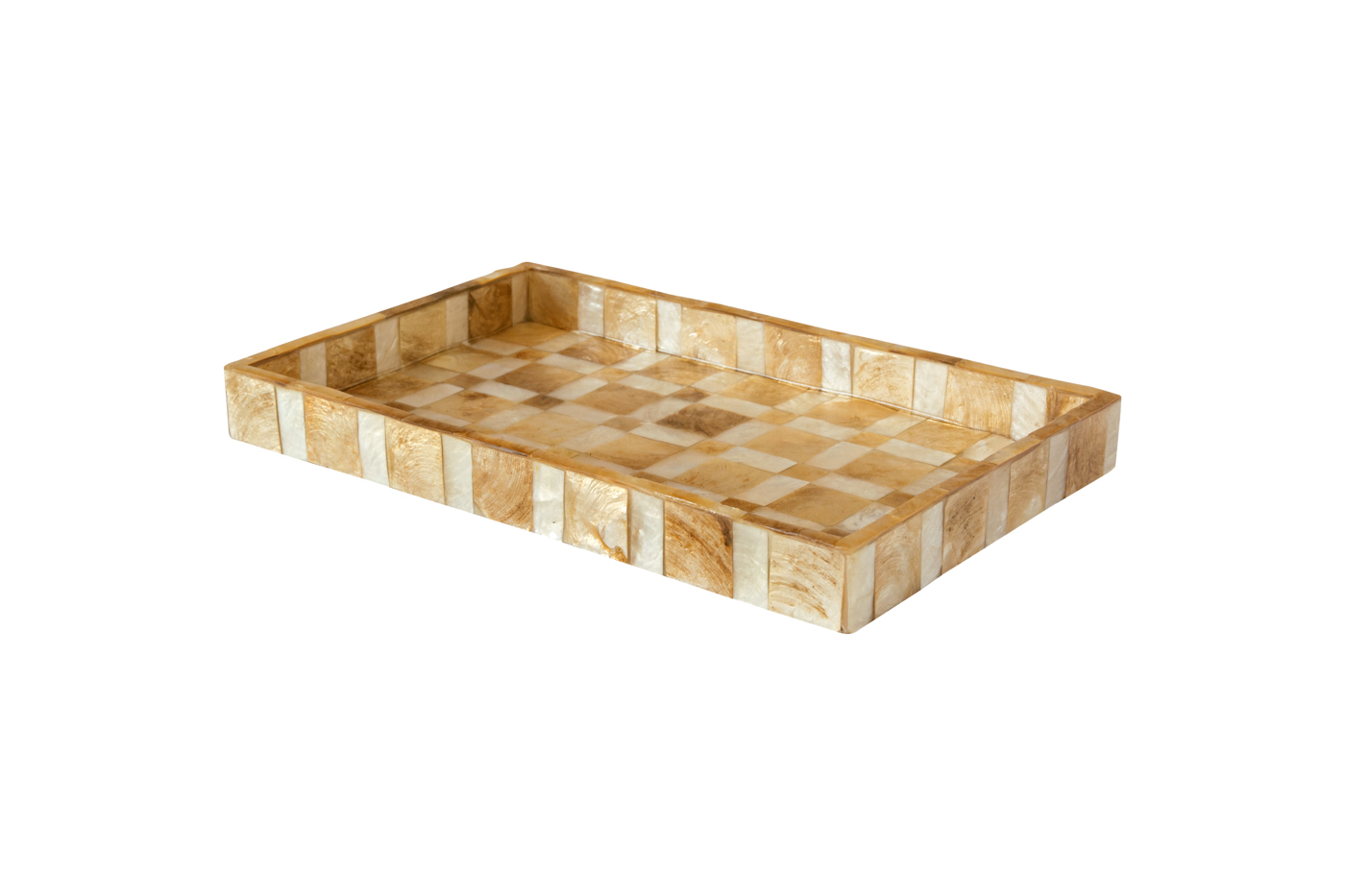 Bandeja rectangular en madera cubierta con nácar, blanco-Café