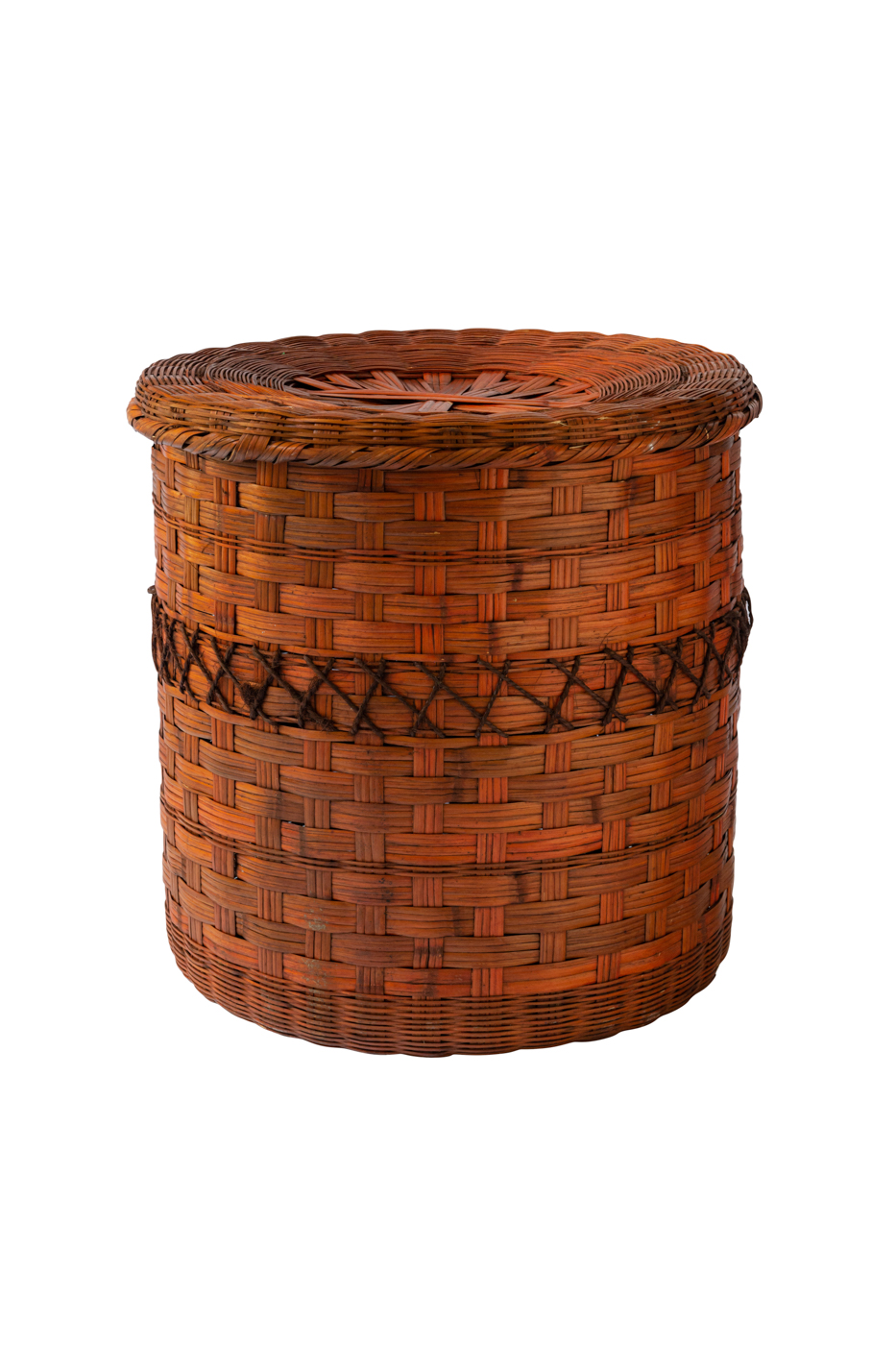 Cylindrical natural fibre basket with lid