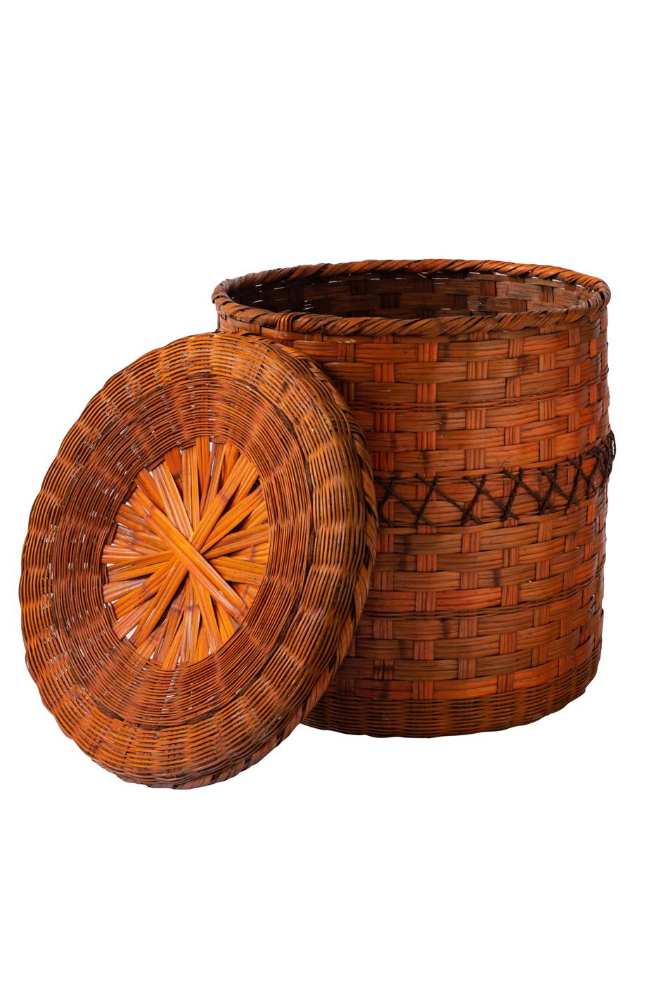 Canasto cilíndrico en fibra natural con tapa