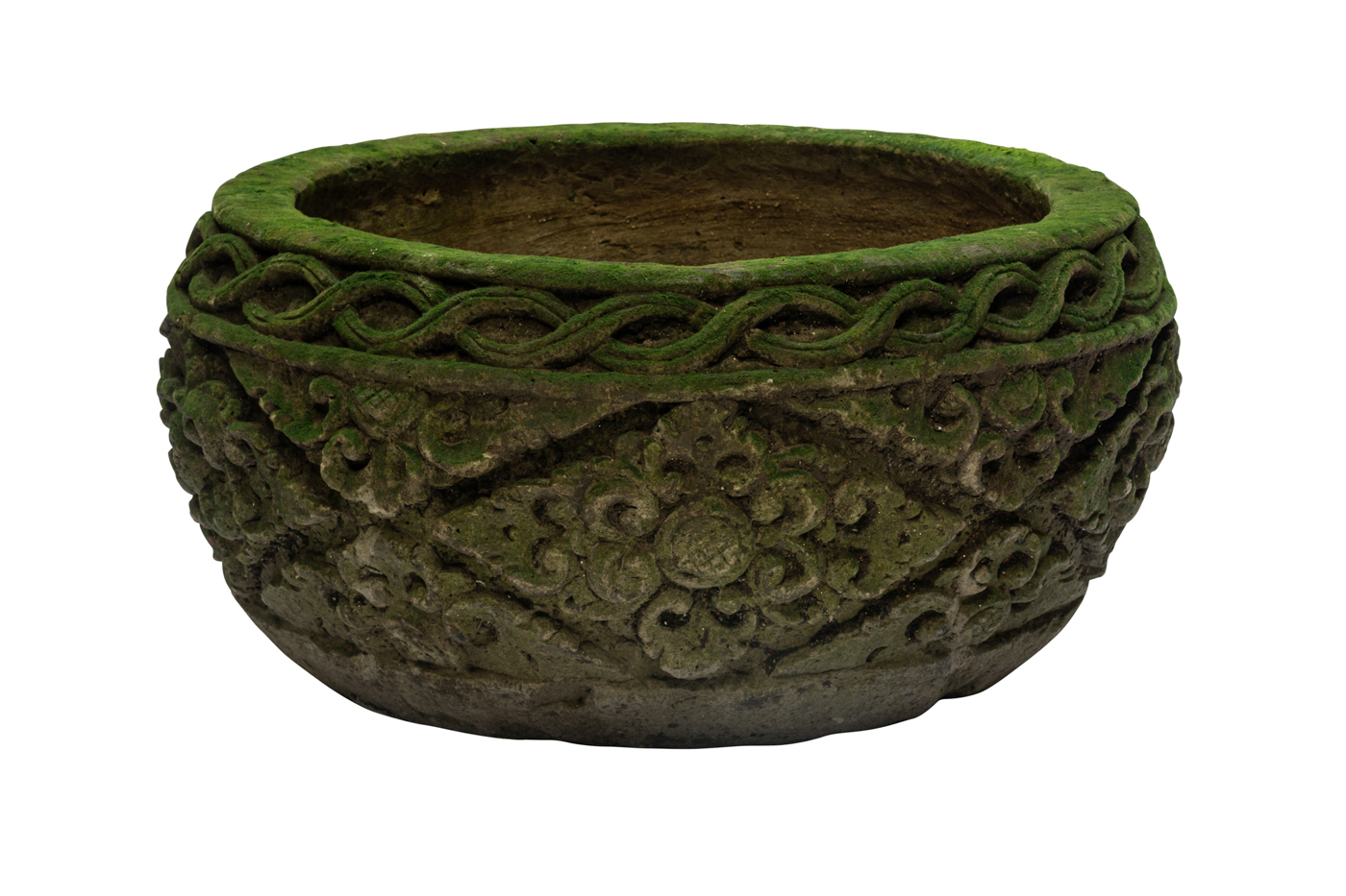 Carved  stone pot with natural green rhombus design