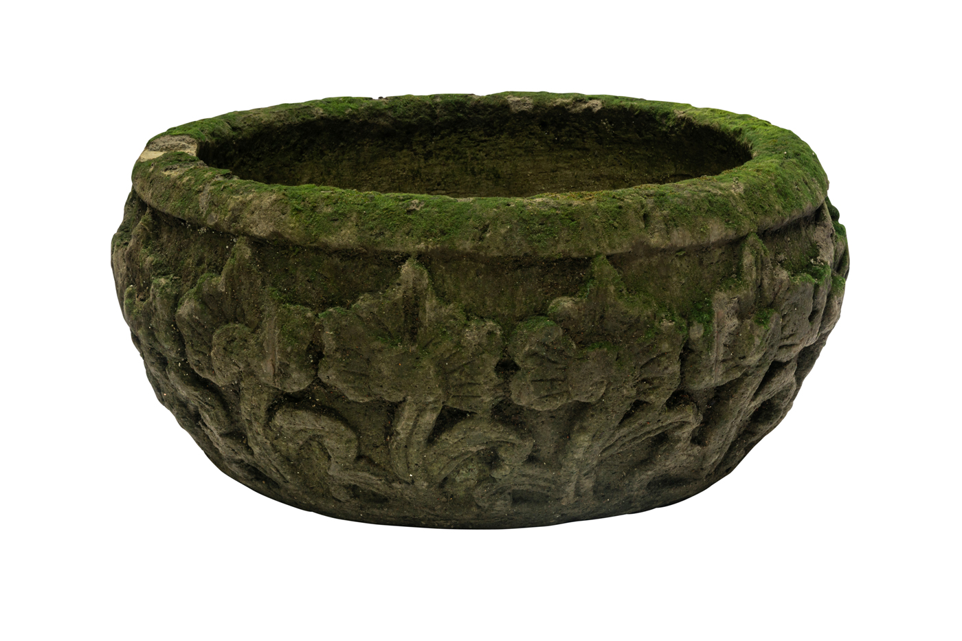 Carved  stone pot with natural green roses design