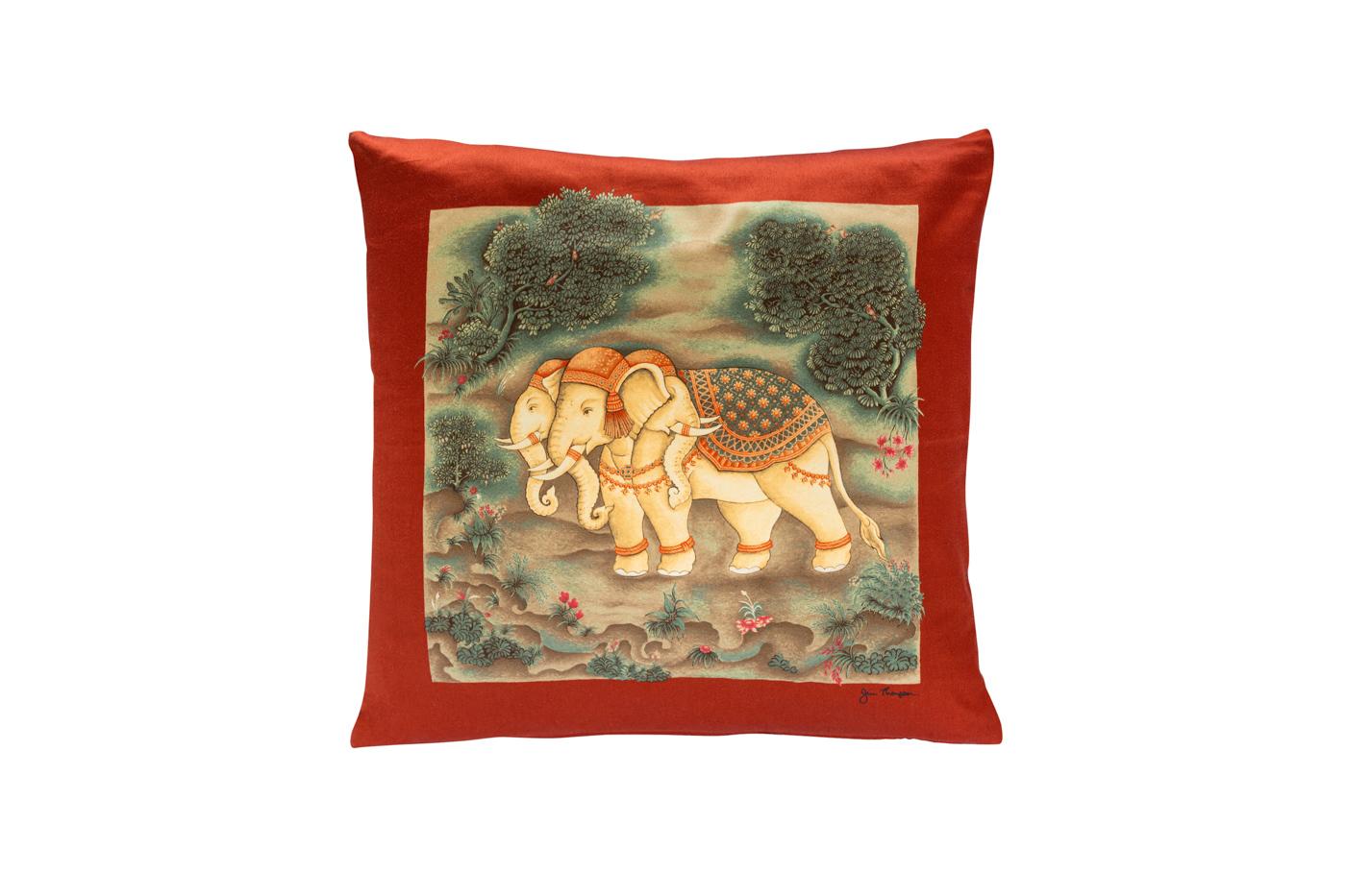 Cojín de seda Jim Thompson Elefantes- Rojo