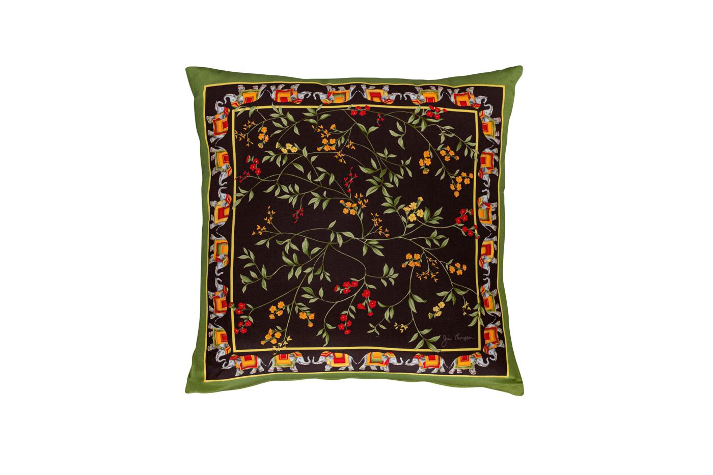 Cojín de seda Jim Thompson Floral con bordes de elefantes