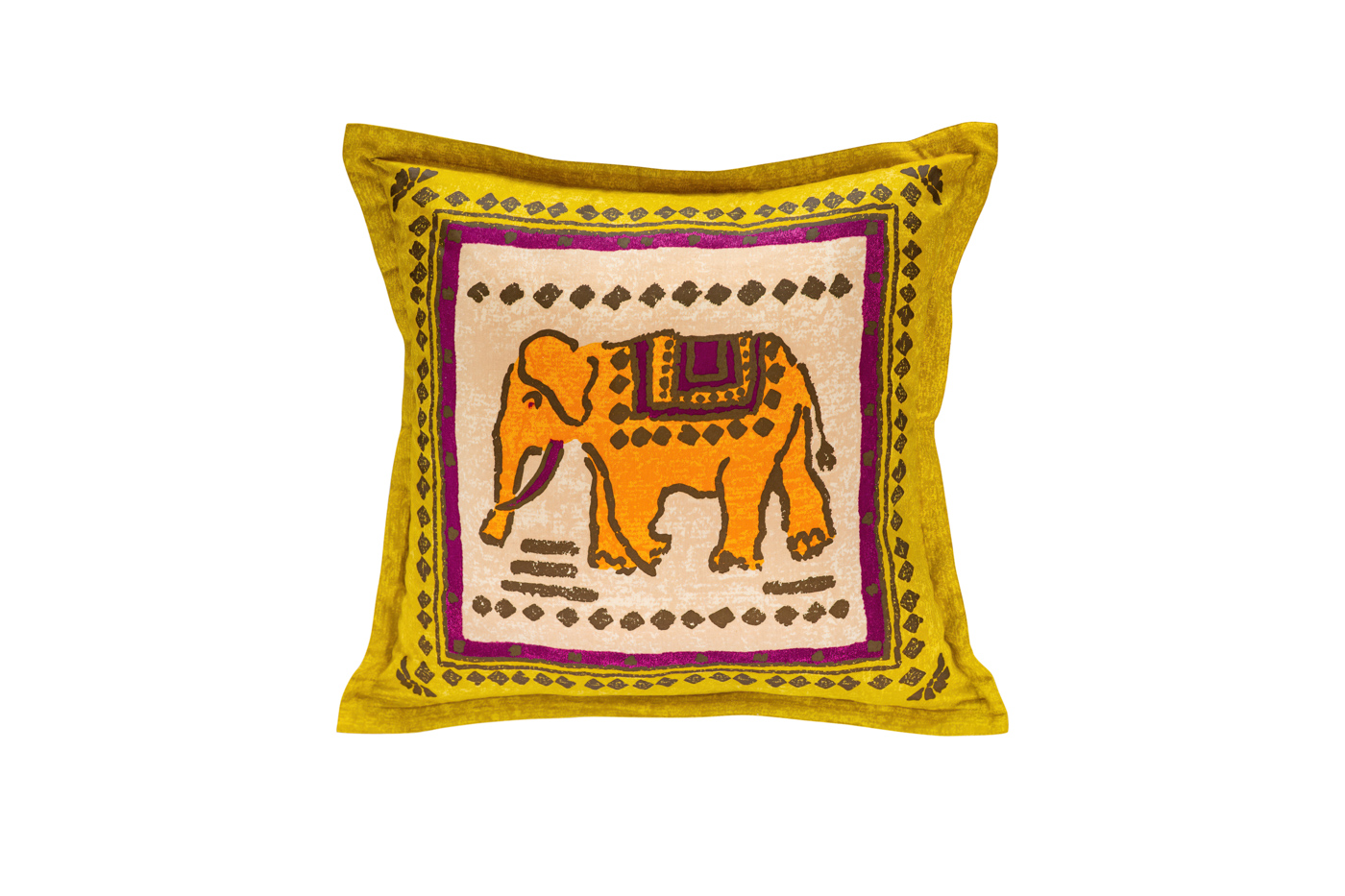 Cojín de seda Jim Thompson elefante-amarillo