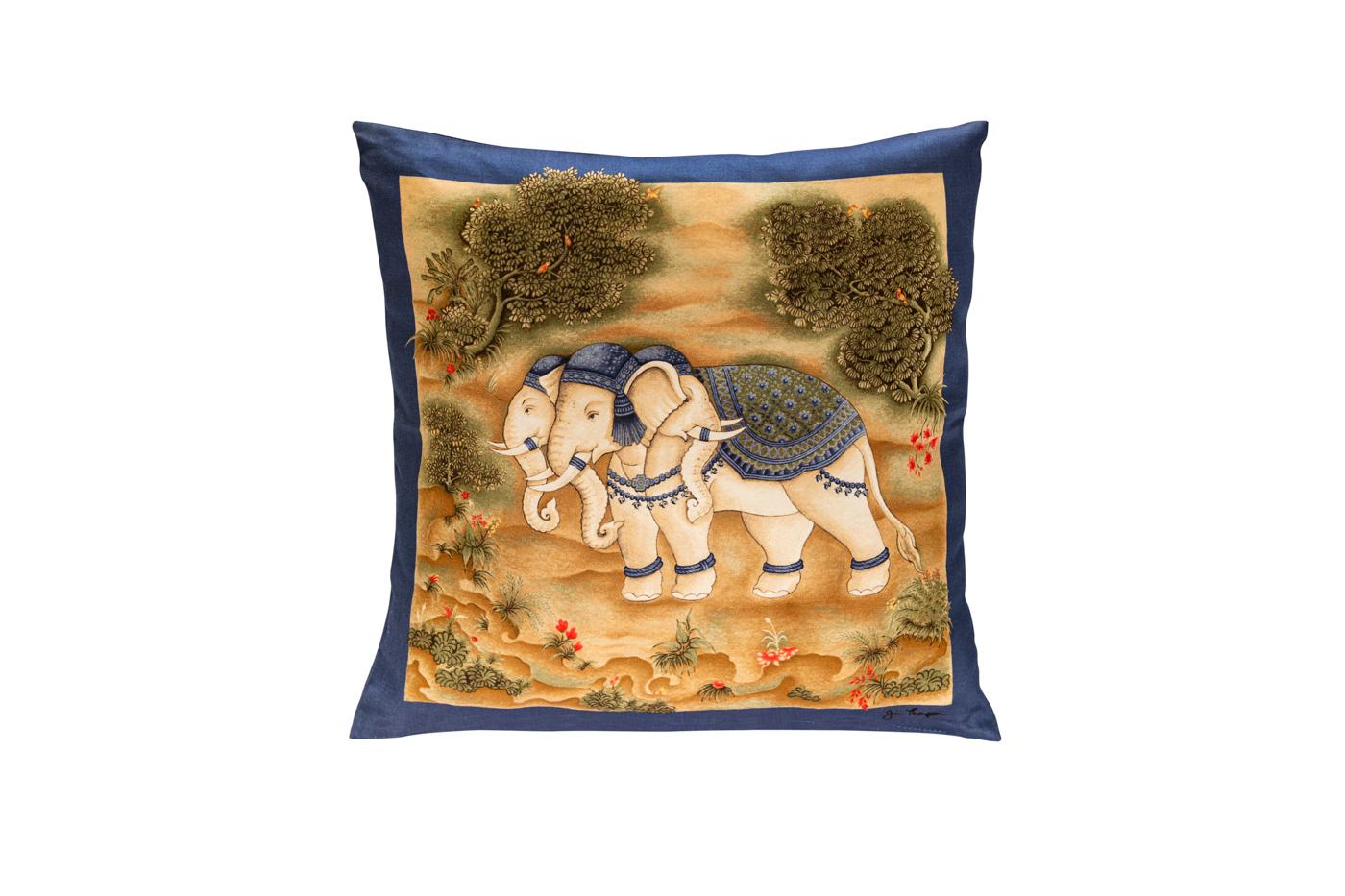 Cojín de seda Jim Thompson Elefantes- azul