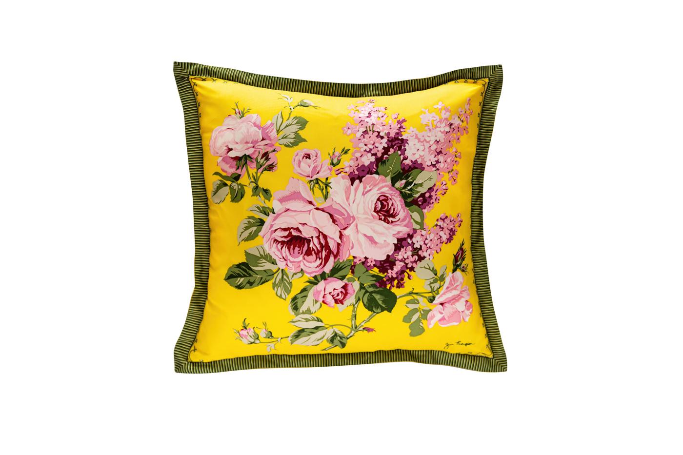 Cojín de seda Jim Thompson ramo de flores