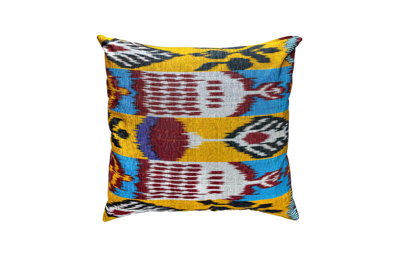 Cojín Ikat de seda- azul y amarillo