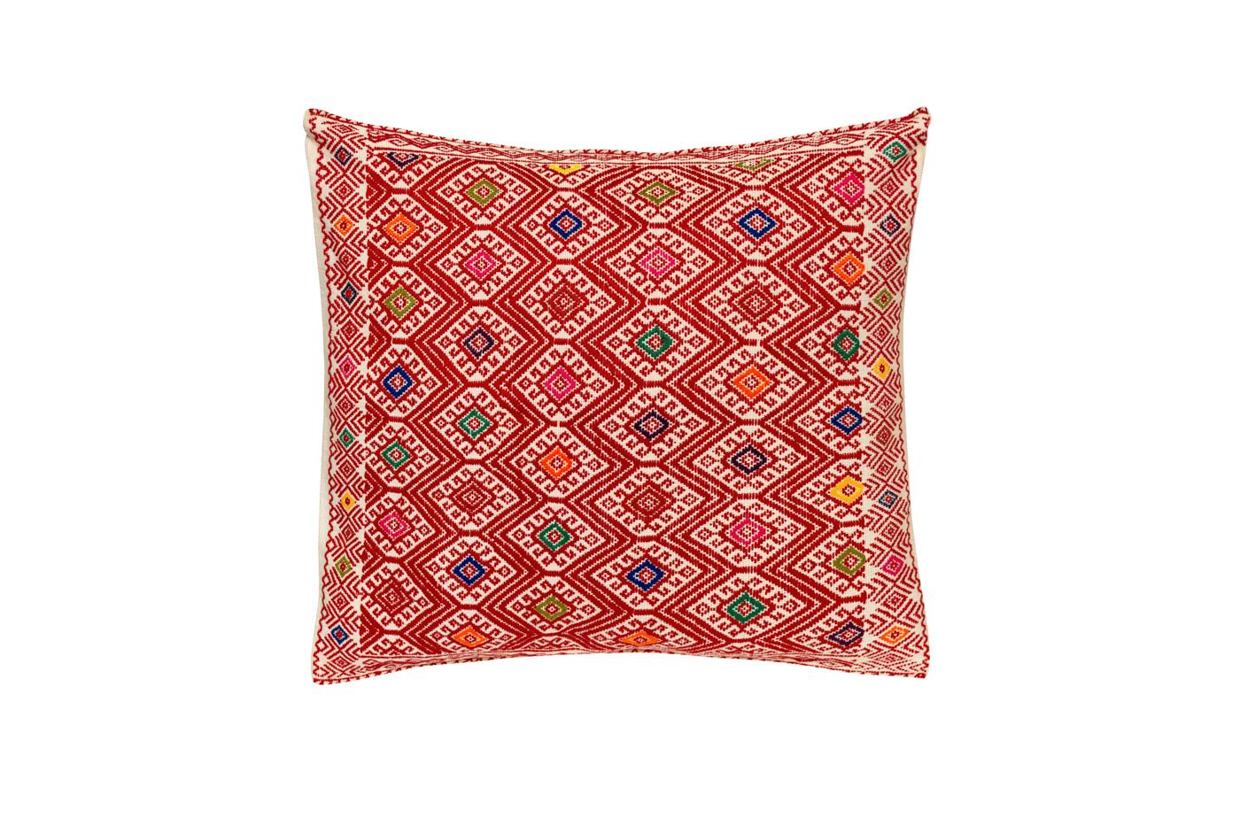 Cojín Mexicano en algodón con patrones geométricos