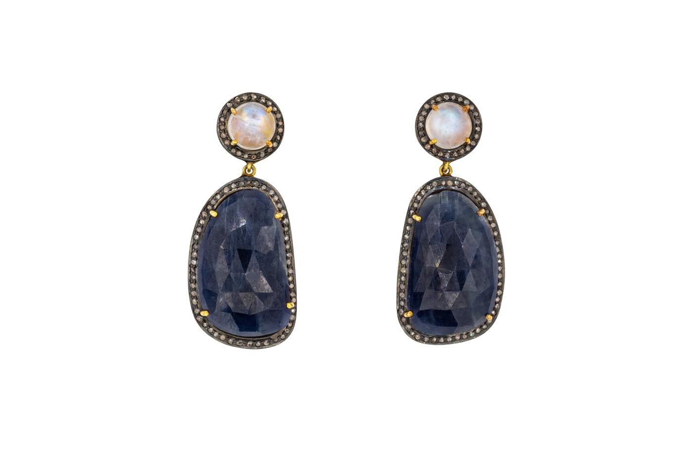 Arete colgante cuarzo ahumado y diamantes esmaltados negro