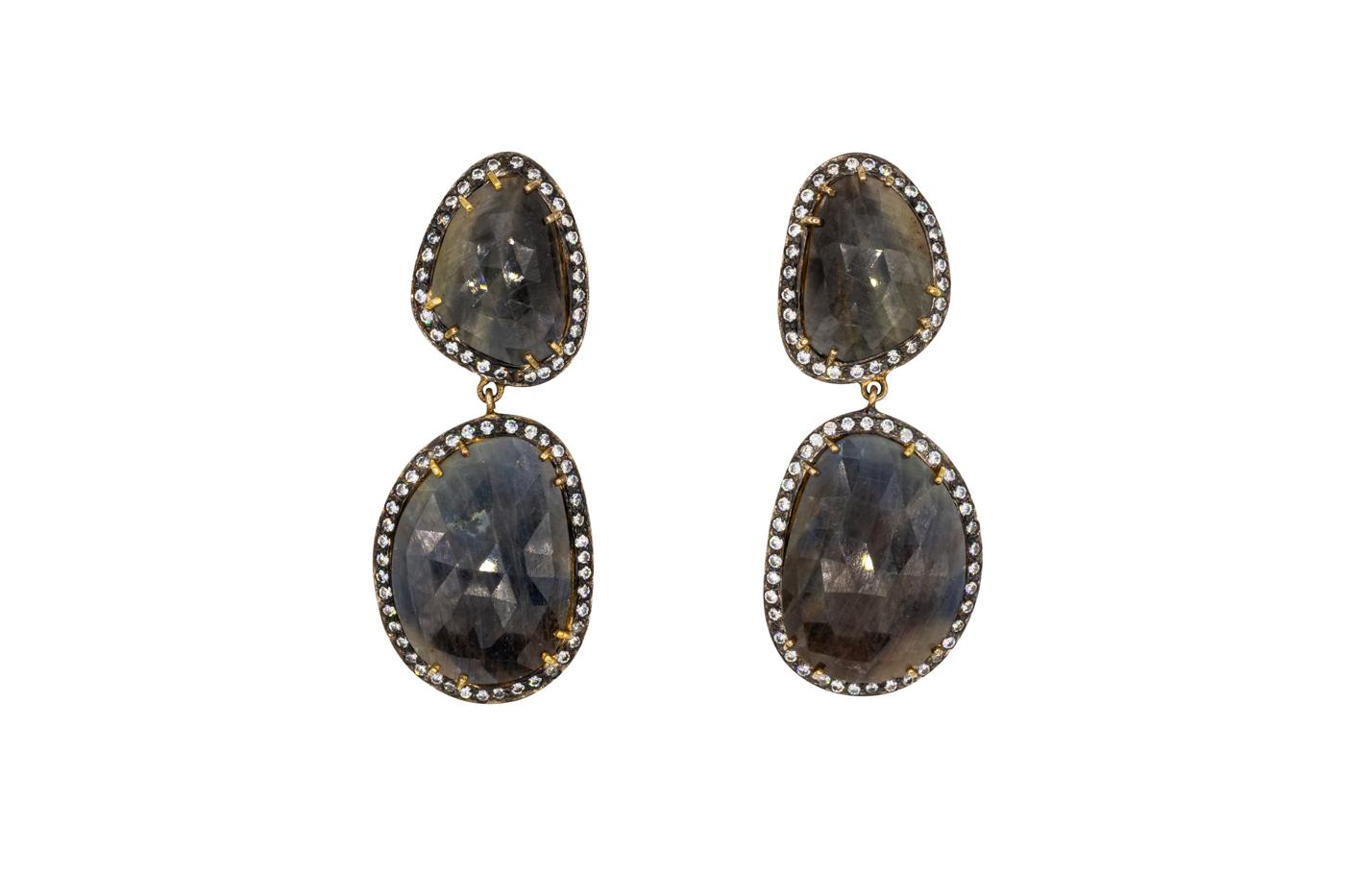 Arete colgante ónix y diamantes esmaltados negro