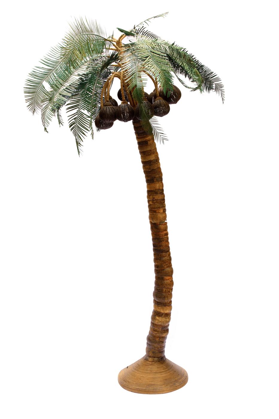 Lámpara de piso palmera coco natural