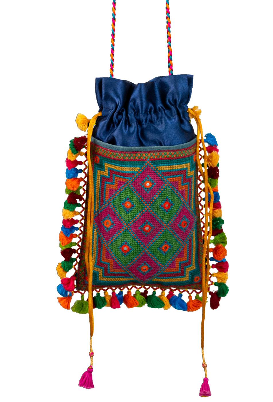 Bolso de seda India azul