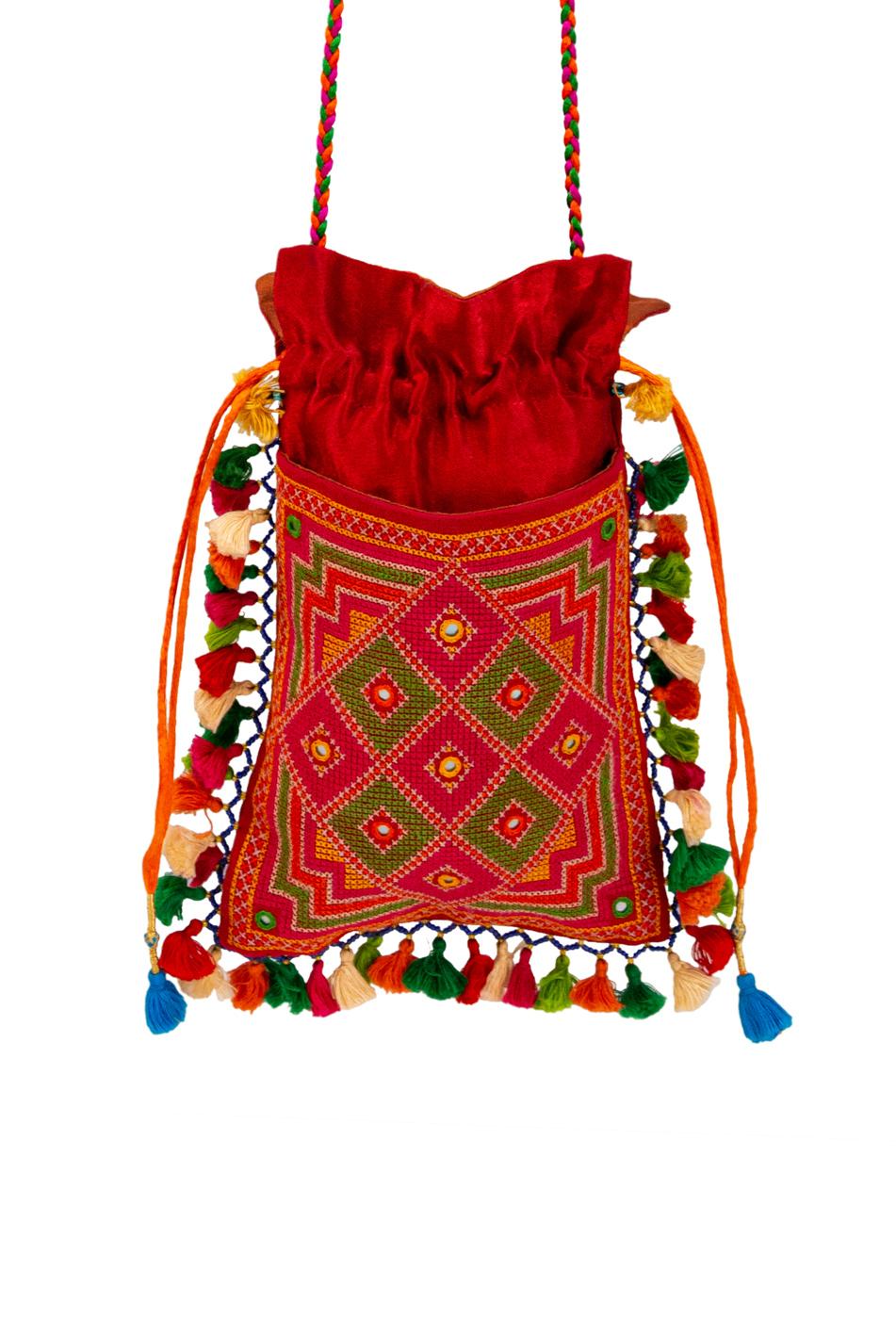 Bolso de seda India- rojo