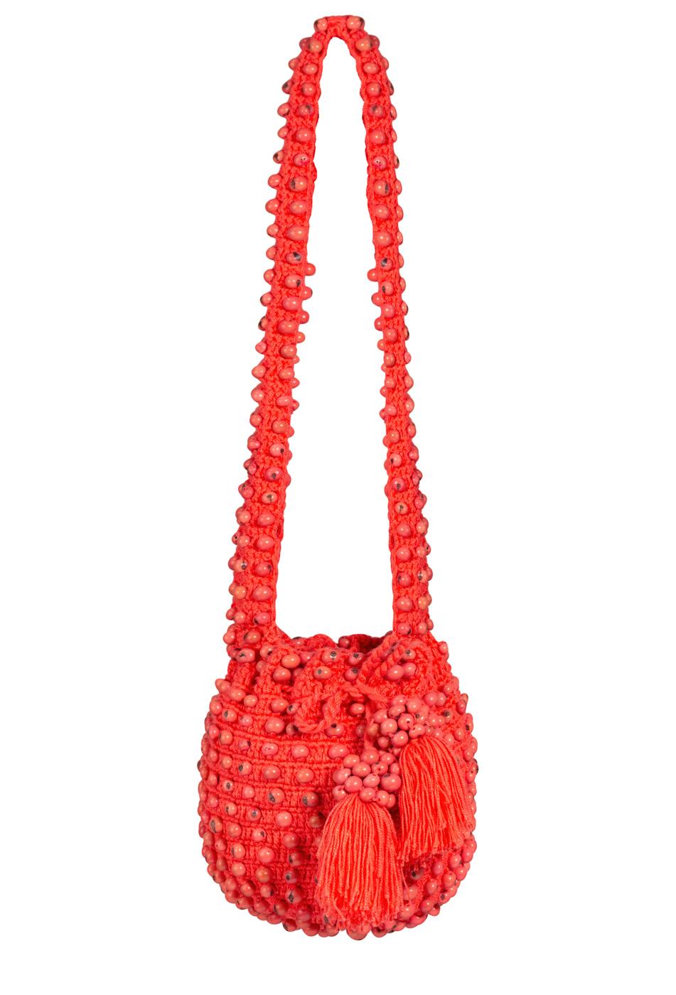 Mochila crochet tagua coral