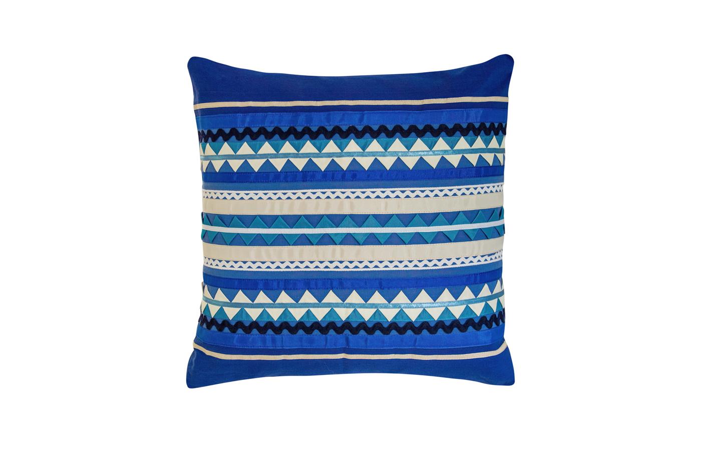 Cojín Mexicano en algodón con cintas de seda-azul