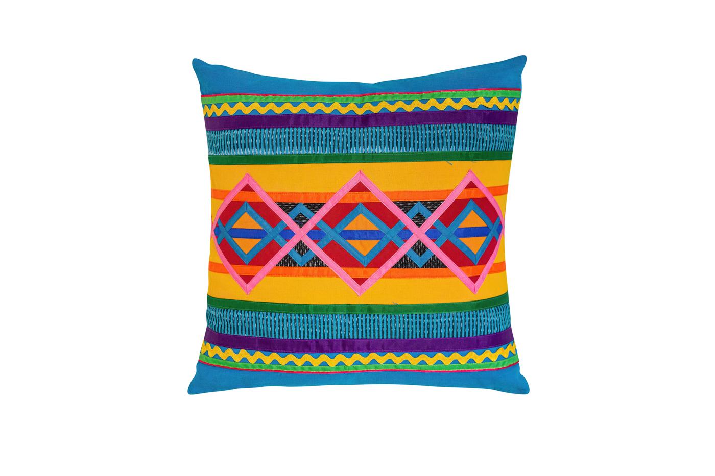 Cojín Mexicano en algodón con cintas de seda-amarillo/azul