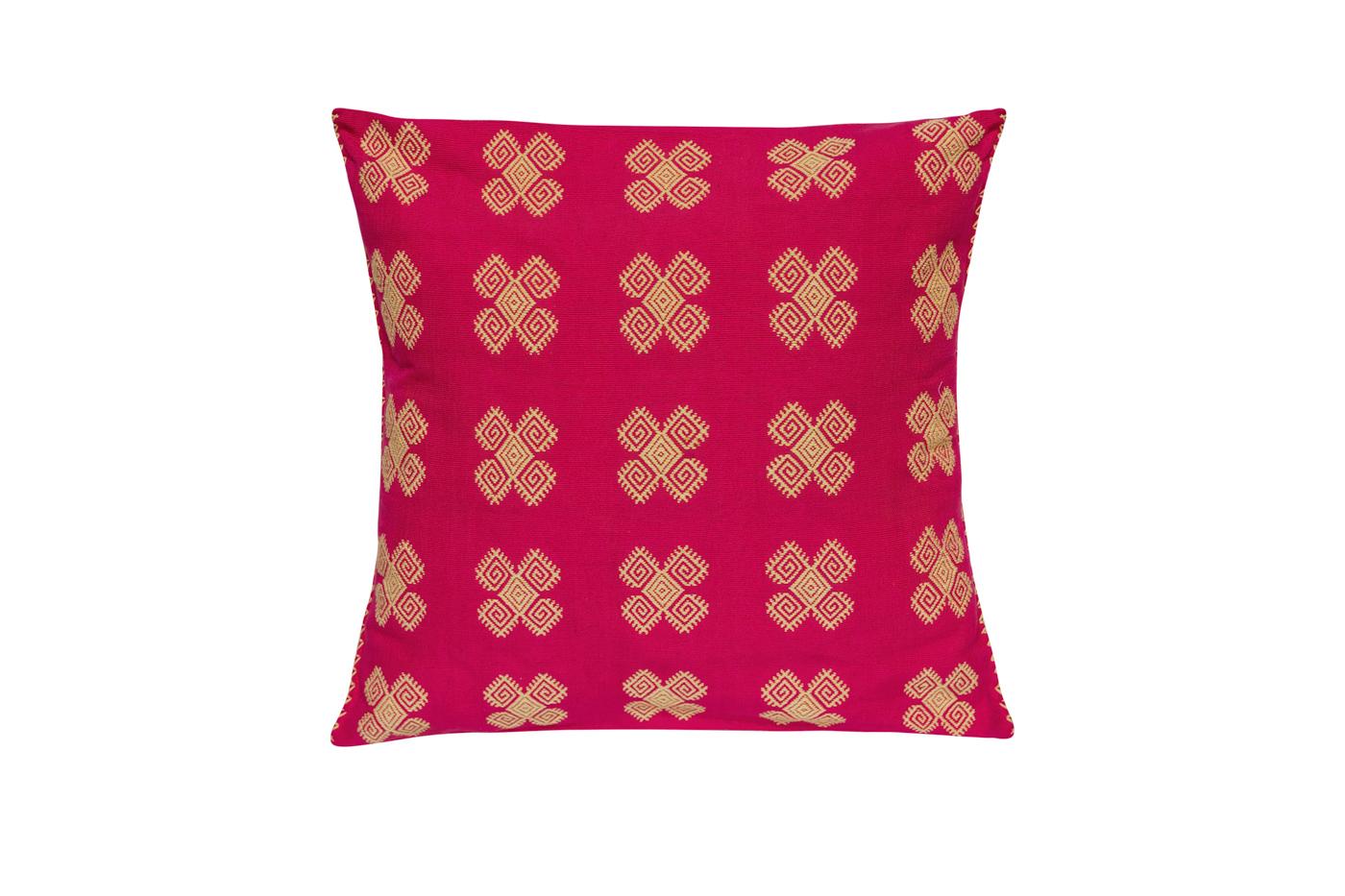 Cojín Mexicano en algodón con patrones geométricos-fucsia